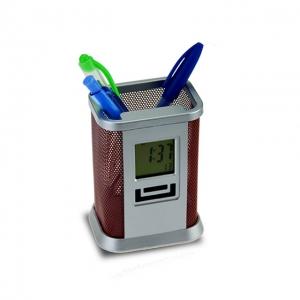 Írószertartó óra- és dátumkijelzéssel ébresztő és stopper funkcióval