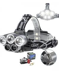 Nagy fényerejű LED fejlámpa 5LED tölthető